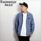 【送料無料】KustomStyle カスタムスタイル PRAYING KATAKANA CHAMBRAY L/Sシャツ BLUE