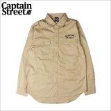 【送料無料】CAPTAIN STREET FO L/Sワークシャツ BEIGE キャプテンストリート