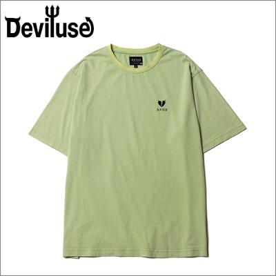 画像1: Deviluse デビルユース Heartaches Stone Wash Tシャツ SEA GREEN