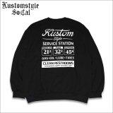 【送料無料】KustomStyle カスタムスタイル GAS STATION クルーネックスウェット BLACK