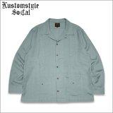 【送料無料】KustomStyle カスタムスタイル LONGROOF L/Sキューバシャツ TURQUOISE BLUE