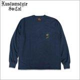 【送料無料】KustomStyle カスタムスタイル ROSE KSSC ポケットL/S Tシャツ NAVY