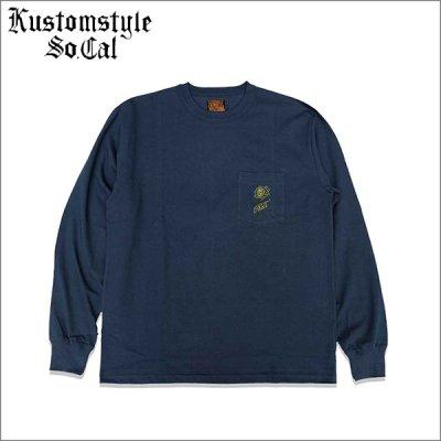 画像1: 【送料無料】KustomStyle カスタムスタイル ROSE KSSC ポケットL/S Tシャツ NAVY