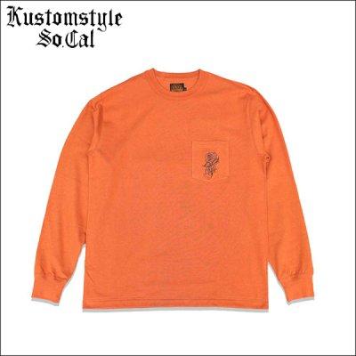 画像1: 【送料無料】KustomStyle カスタムスタイル ROSE KSSC ポケットL/S Tシャツ ORANGE