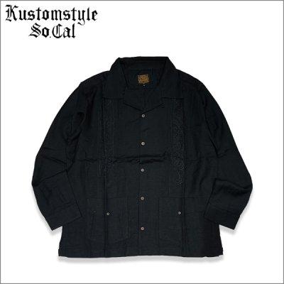 画像1: 【送料無料】KustomStyle カスタムスタイル LONGROOF L/Sキューバシャツ BLACK
